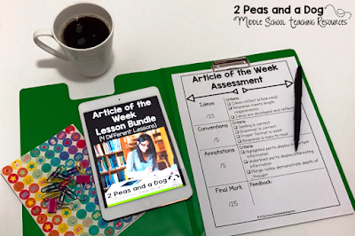 Article of the Week is a literacy strategy that helps students closely engage with a text to make meaning and develop background knowledge as well as practicing reading, writing and critical thinking skills. Teachers assign students a non-fiction article each week to read, and provide time for students to annotate and develop a well-written response. This assignment is great for both English Language Arts teachers as well as content area classes from the 2 Peas and a Dog blog.