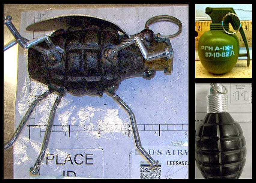 L-R / T-B: Grenades Discovered at SLC, SJC, and PHX