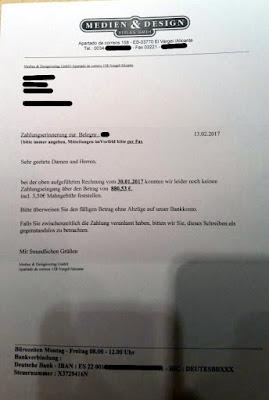 Zahlungserinnerung Medien & Design Verlag GmbH | 13.02.2017
