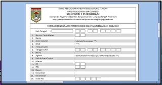 Formulir PPDB 2018/2019 TK/ Paud SD SMP SMA