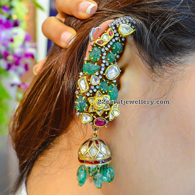 Classy Ear Cups Jhumkas with Jades