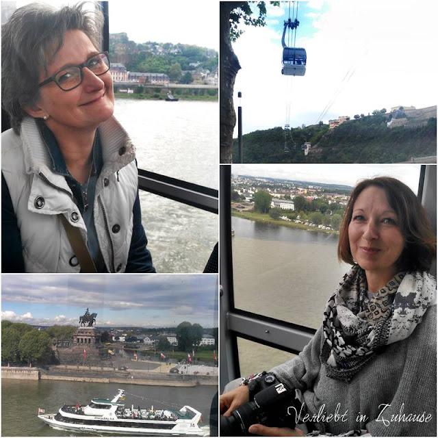 Bloggertreffen Koblenz: Bettina von der Katzenfarm und Nicole von Niwibo in der Gondel zur Festung Ehrenbreitstein