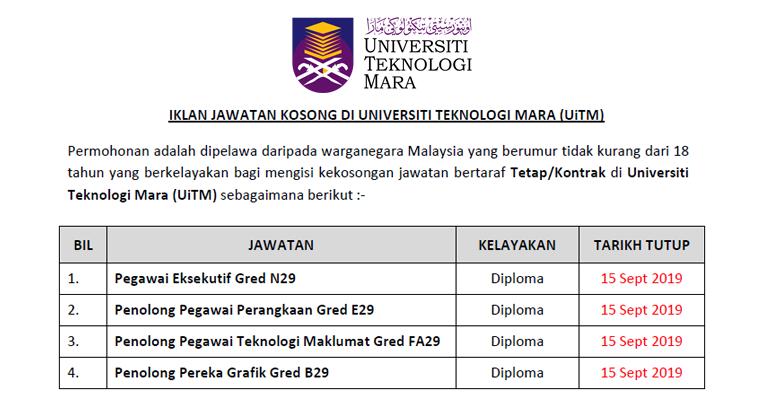Jawatan Kosong Di Universiti Teknologi Mara Uitm Kelayakan Diploma Ejawatankini Com