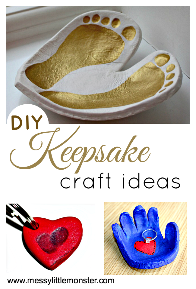DIY keepsake craft ideas.  Baby keepsakes, toddler keepsakes, preschooler keepsakes and keepsakes for older kids. Includes clay keepsakes, child's drawing keepsakes, salt dough keepsakes, fingerprint keepsakes and handprint and footprint art.