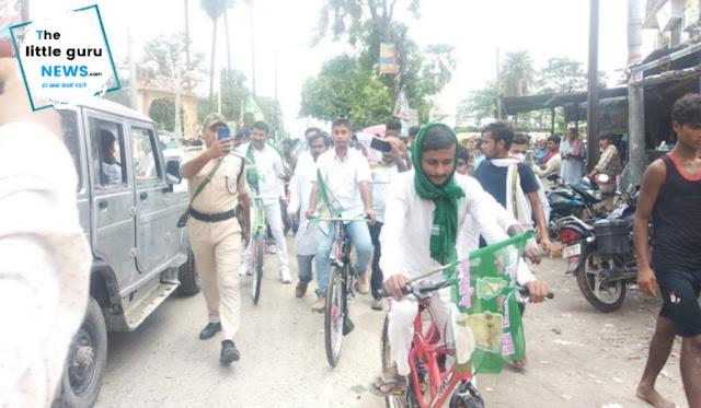 पेट्रोल डीजल के बढ़ते दामों के खिलाफ राजद की साईकल रैली
