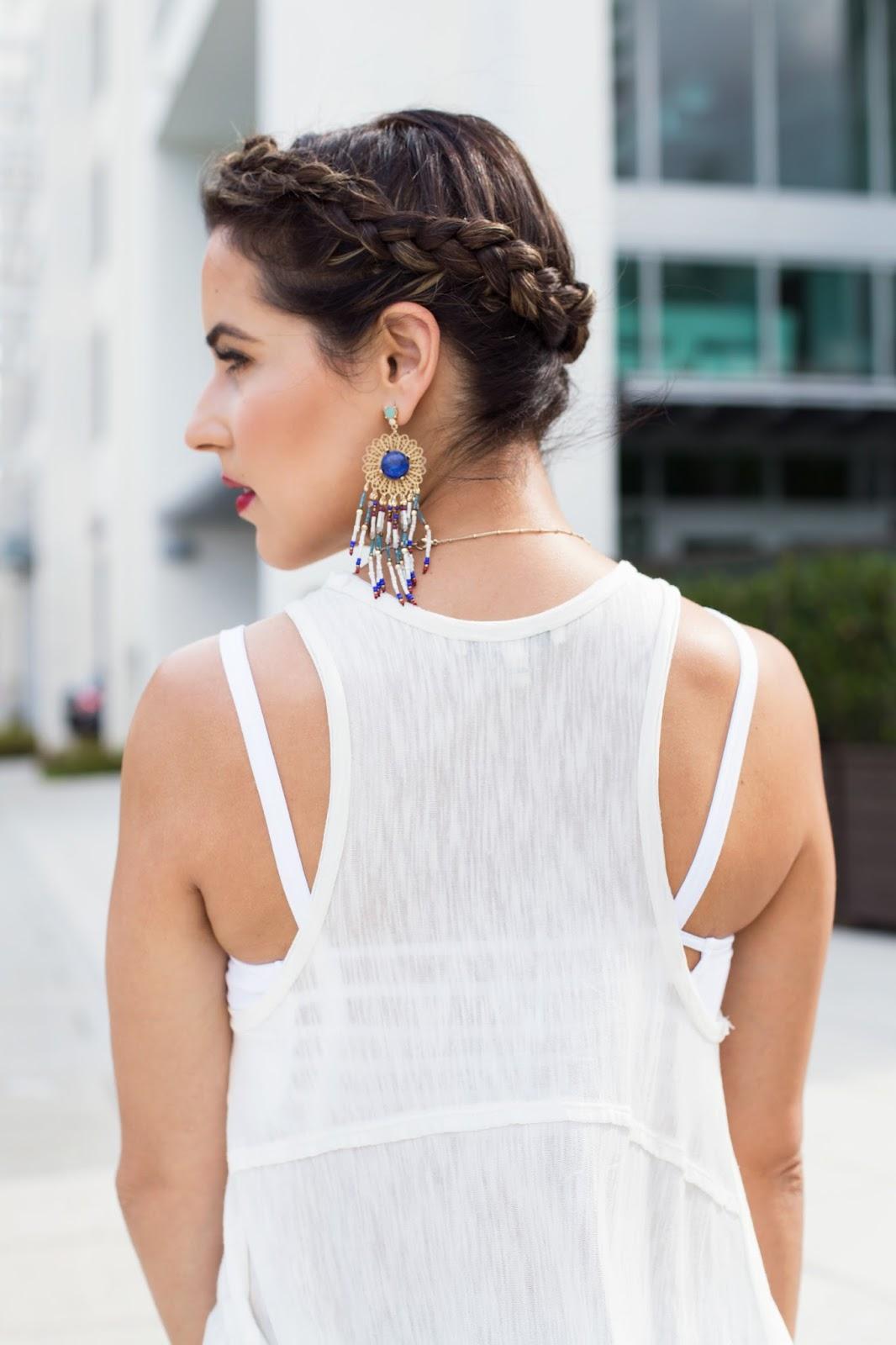 Crown Braid Hair Style and Chandelier Earrings
