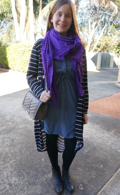purple scarf, chambray dress, striped duster winter outfit | Away From Blue