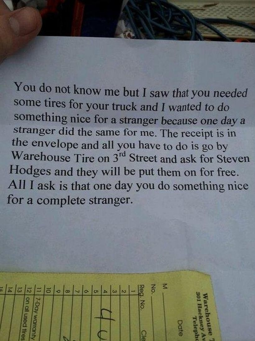Random act of kindness with request to pay it forward.