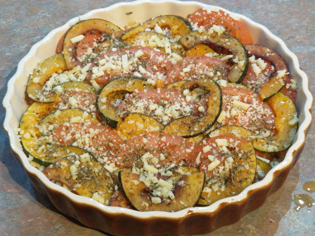 Tomato and squash au gratin assembled ready for the oven