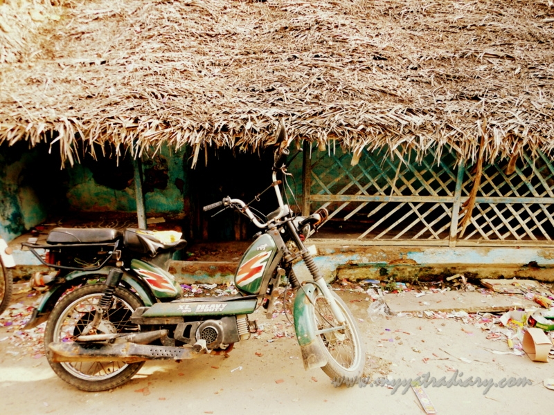 A bike parked in front of a house in Rameshwaram, Tamil Nadu