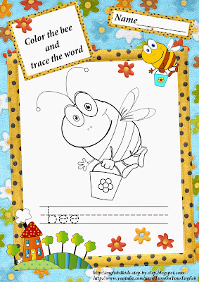 letter b, bee coloring page
