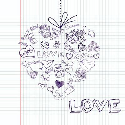 vector de elementos de amor escritos a mano