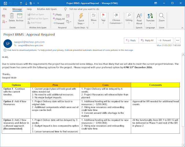 Email template for seeking a decision