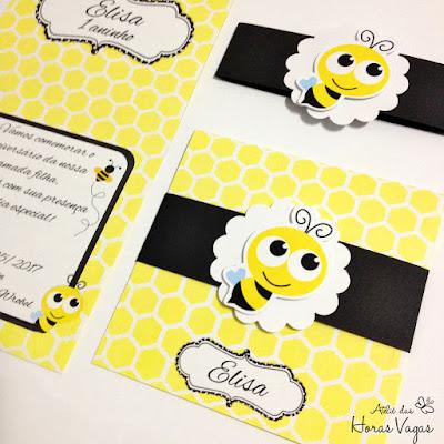 convite de aniversário infantil artesanal personalizado abelhinha colmeia jardim encantado abelha festa 1 aninho convite diferente scrapfesta scrapbook
