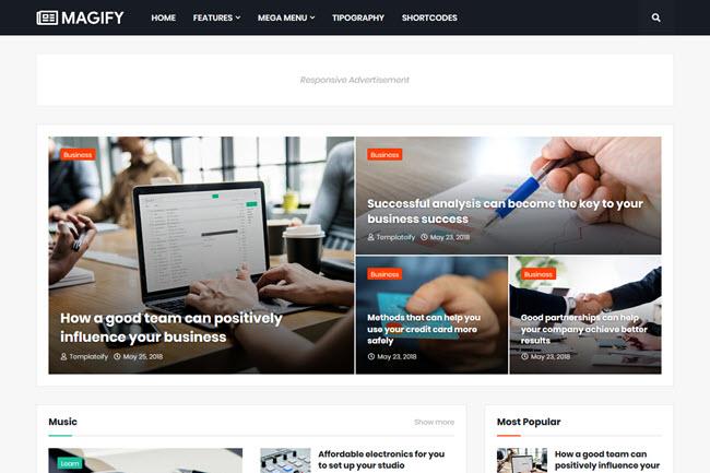 Template Magify | Modelo de blog responsivo para notícias e revistas