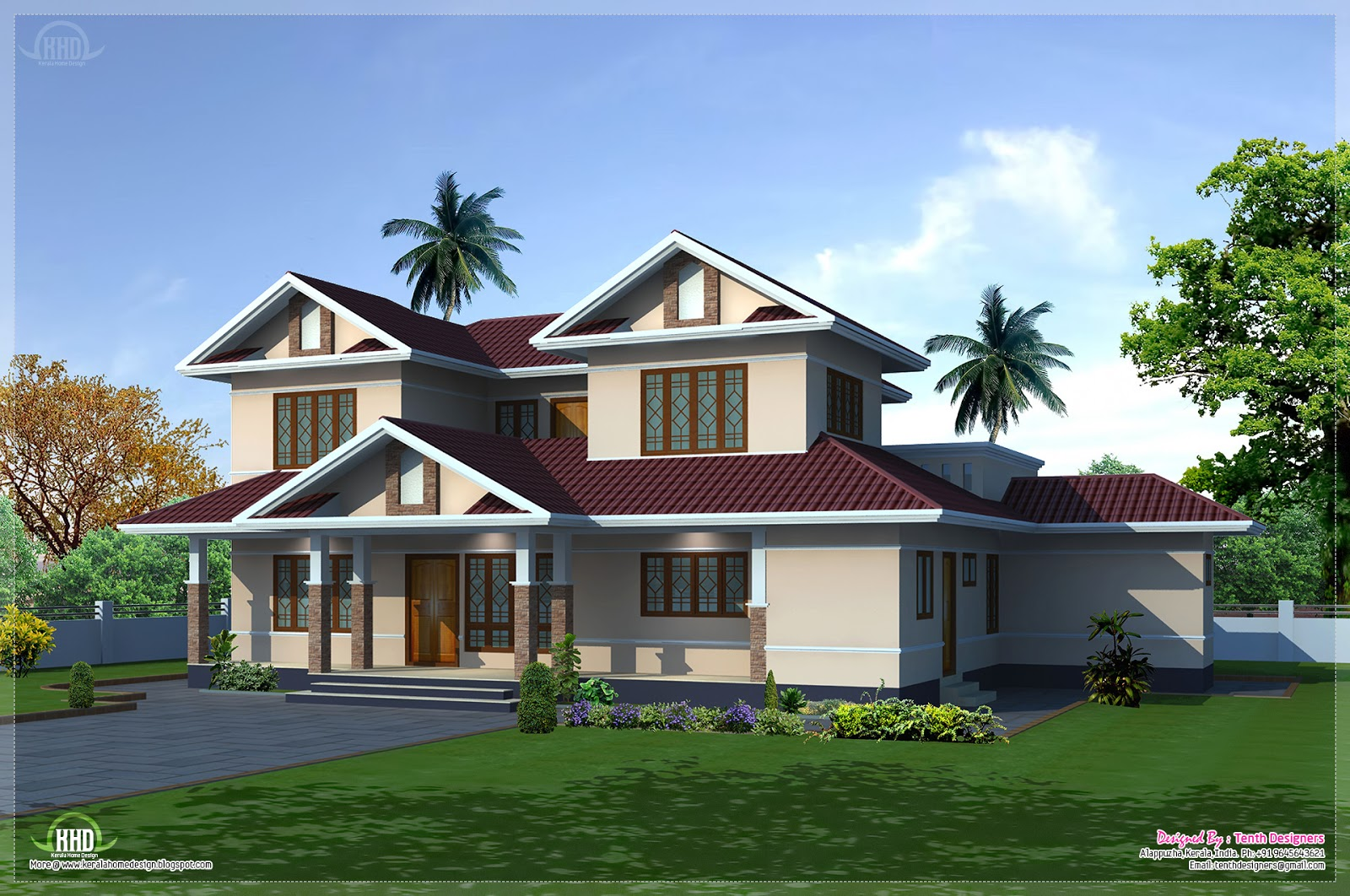 2400 villa exterior and floor plan kerala home for Www kerala house plan free