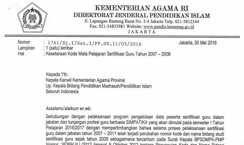 KESETARAAN KODE MAPEL SERTIFIKASI LULUSAN 2007-2008 (SIMPATIKA)