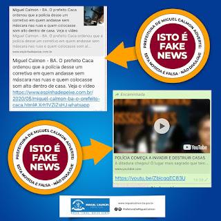 Prefeitura de Miguel Calmon desmente  fake news que  relaciona ação policial ao combate ao Coronavírus