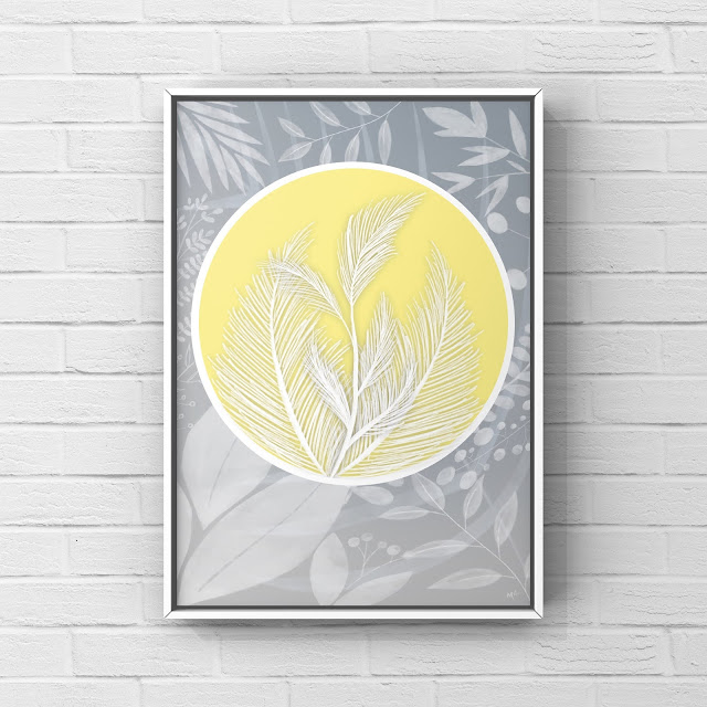 spring art, flowers, floral, yellow, gray, abstract, design, graphic design,