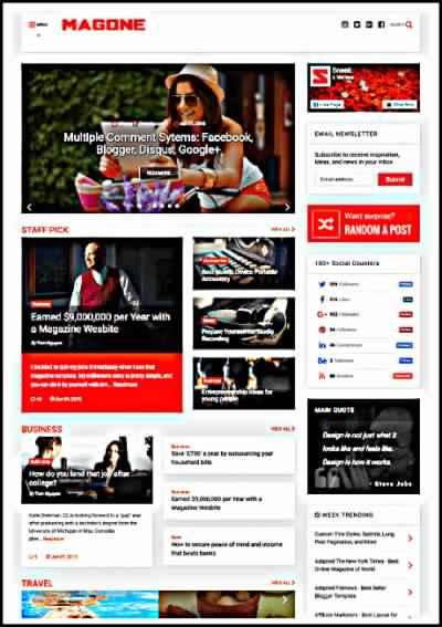 MagOne Premium AMP Blogger Template