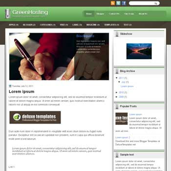 GreenHosting blogger template. template blogspot magazine style