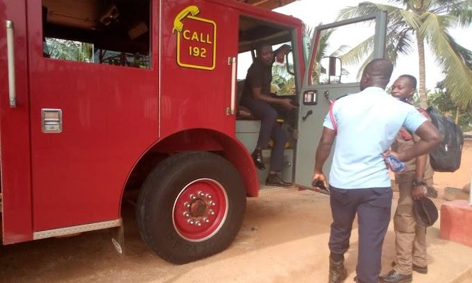 THE YOUTH OF BREMAN ASIKUMA DEMONSTRATE AGAINST GHANA NATIONAL FIRE SERVICE
