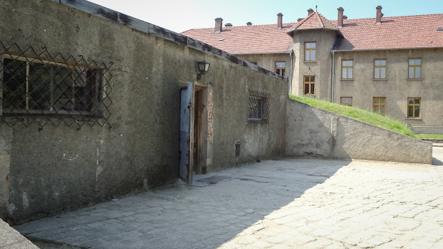 The entrance to the crematory in Auschwitz