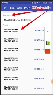Di menu BELI PAKET DATA pada bagian operator pilih [TRANSFER DANA KE MANDIRI] dan tentukan pilihan nominal produk yang anda inginkan mulai dari 50ribu sampai 950ribu