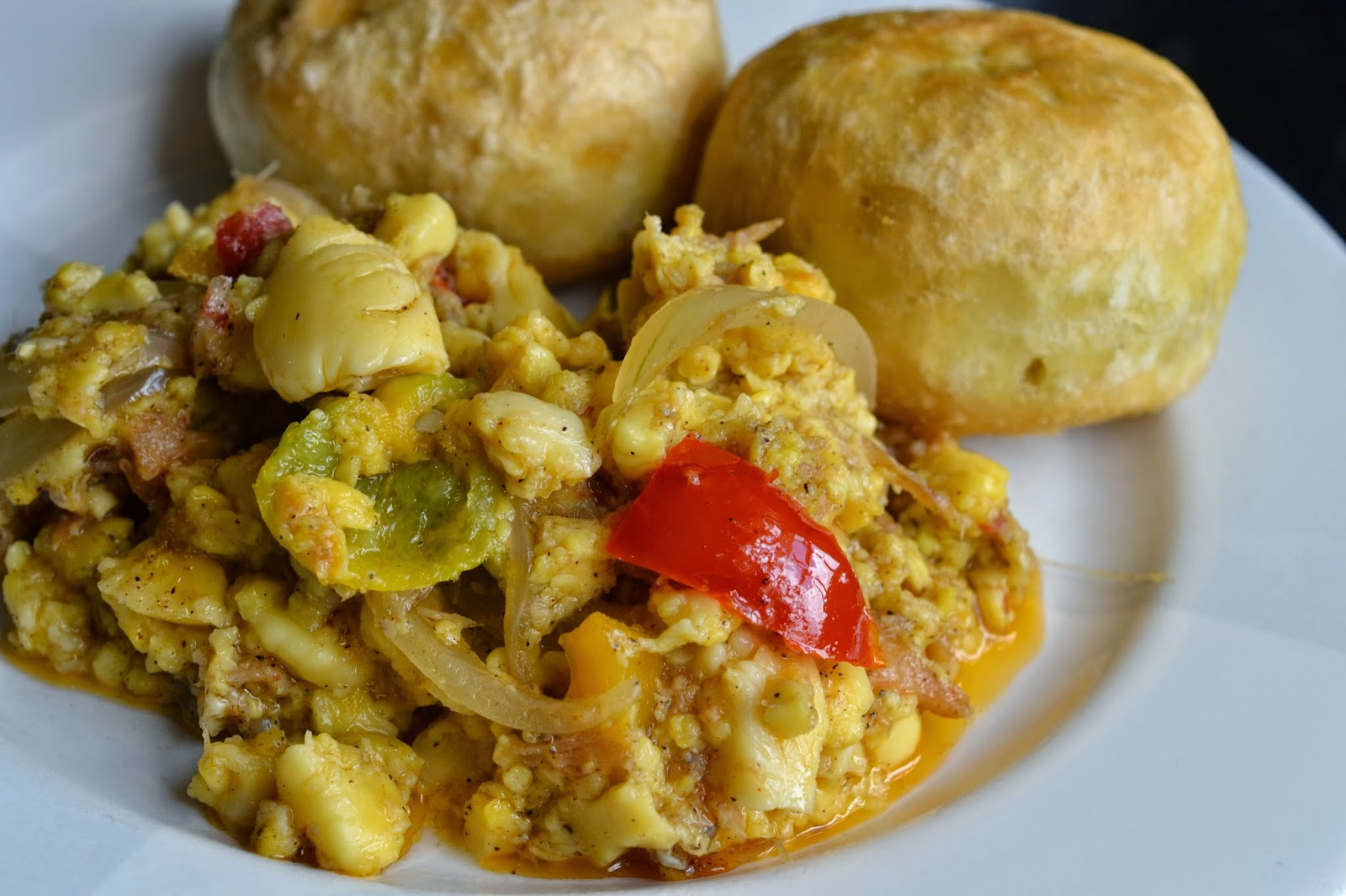 Greedy Girl : Ackee and saltfish with fried dumplings
