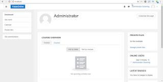 halaman dashboard administrator moodle
