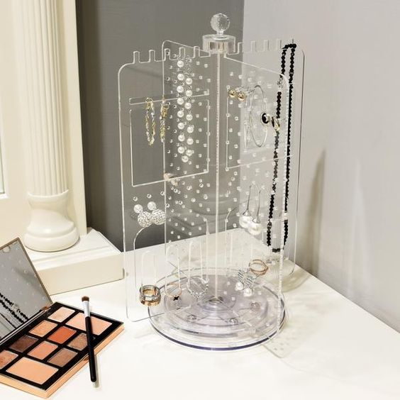 Acrylic Rotating Jewelry Stand Earring Holder Accessories Organizer