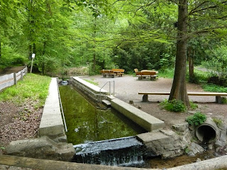 Ein Wasserbecken, das von einem Fluss gespeist wird. Daneben ein gemütlicher Rastplatz mit Bänken und Tischen.