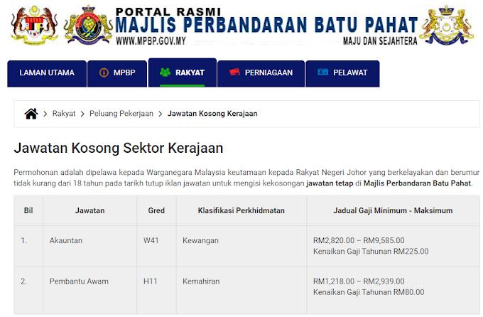 Jawatan Kosong Terkini di Majlis Perbandaran Batu Pahat (MPBP).