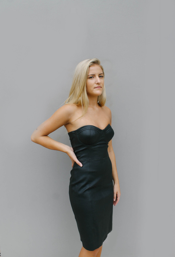 Bella Strapless Leather Dress