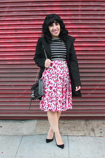 Will Bake for Shoes | Black Steve Madden Princess Coat and Kate Spade Mixed Print Top and Skirt Outfit