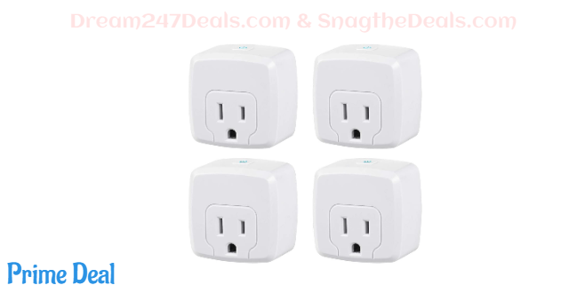 50%OFF HBN Mini Smart WiFi Plug, Heavy Duty Wi-Fi Timer with One Grounded Outlet, Wireless Remote Control by App Compatible with Alexa/Google Home Assistant 2.4 GHz Network only, ETL Listed (4 Pack)