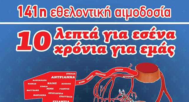 141η τακτική εθελοντική αιμοδοσία στο Άργος (μόνο με ραντεβού)