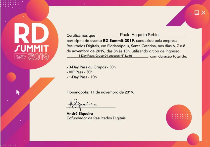 Certificado Inbound Marketing do RD Summit