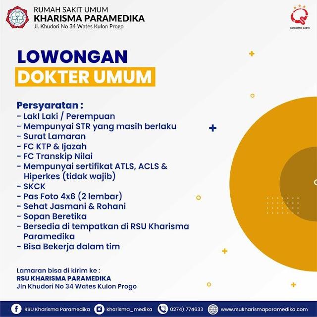 Loker Dokter Umum RS Kharisma Paramedika Kulon Progo