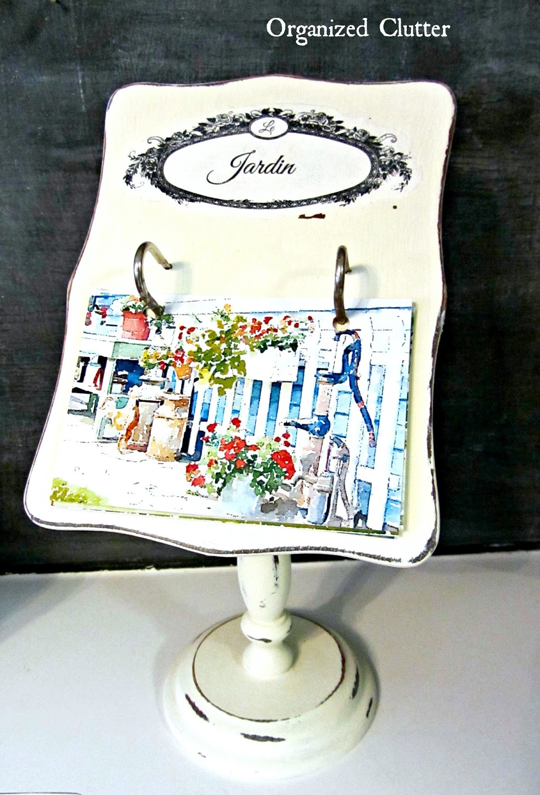 Recipe Card Garden Photo Holder www.organizedclutterqueen.blogspot.com