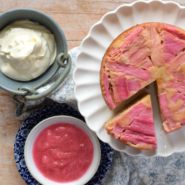Rhubarb & Ginger Upside Down Cake