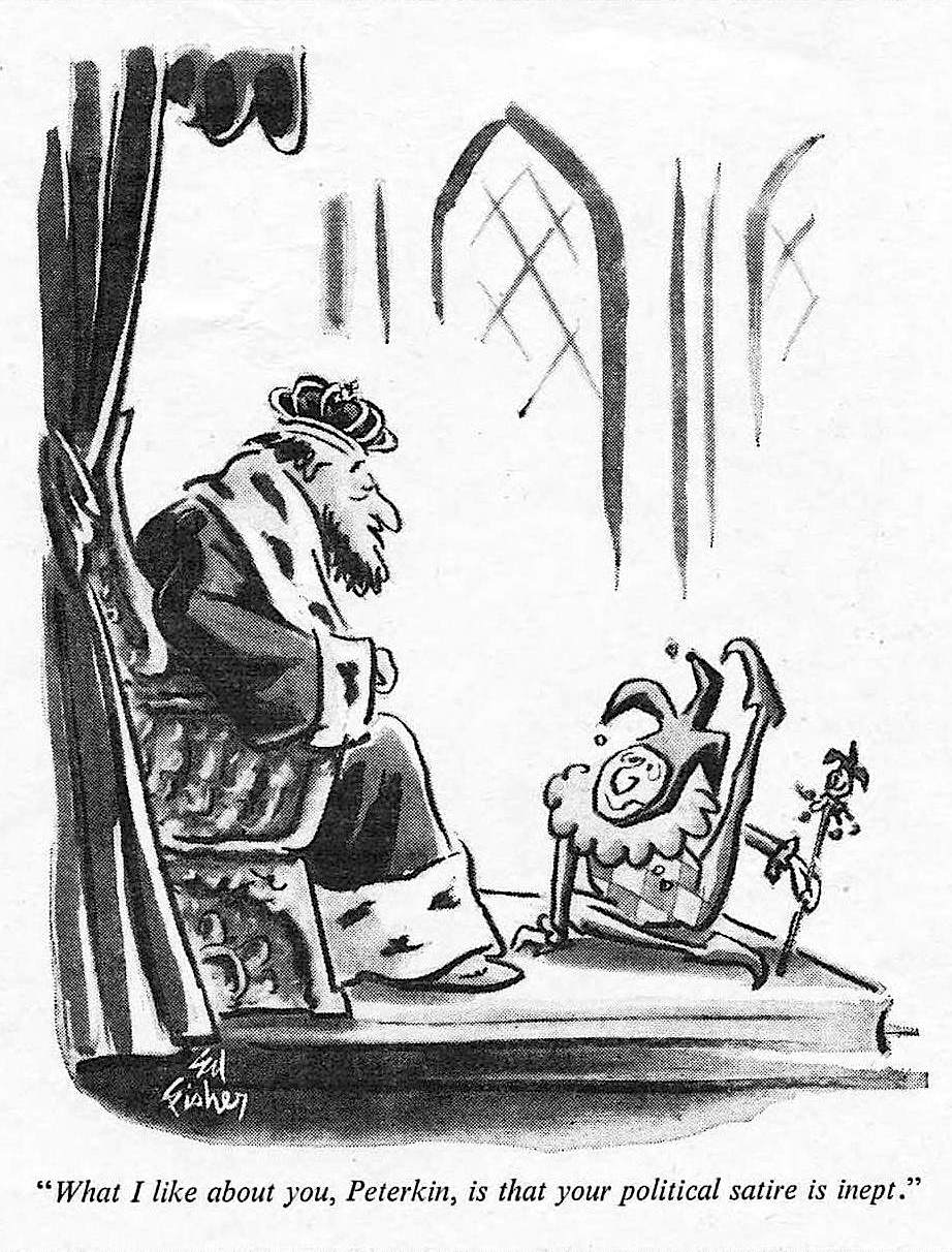 an Ed Fisher 1966 cartoon showing a king and his jester's political satire