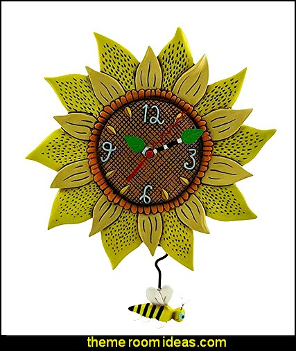 Bee Sunny Sunflower Wall Clock with Bee Pendulum   bumble bee bedrooms - Bumble bee decor - Honey bee decor - decorating bumble bee home decor - Bumble Bee themed nursery - bee wallpaper mural decals - Honeycomb Stencil - hexagonal stencils - bees in springtime garden bedroom -  bee themed nursery - black yellow bedroom ideas - Hexagon pattern -