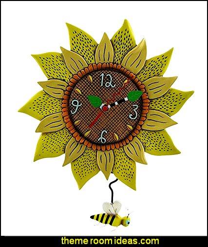 Bee Sunny Sunflower Wall Clock with Bee Pendulum   bumble bee bedrooms - Bumble bee decor - Honey bee decor - decorating bumble bee home decor - Bumble Bee themed nursery - bee wallpaper mural decals - Honeycomb Stencil - hexagonal stencils - bees in springtime garden bedroom -  bee themed nursery - black yellow bedroom ideas - Hexagon pattern -