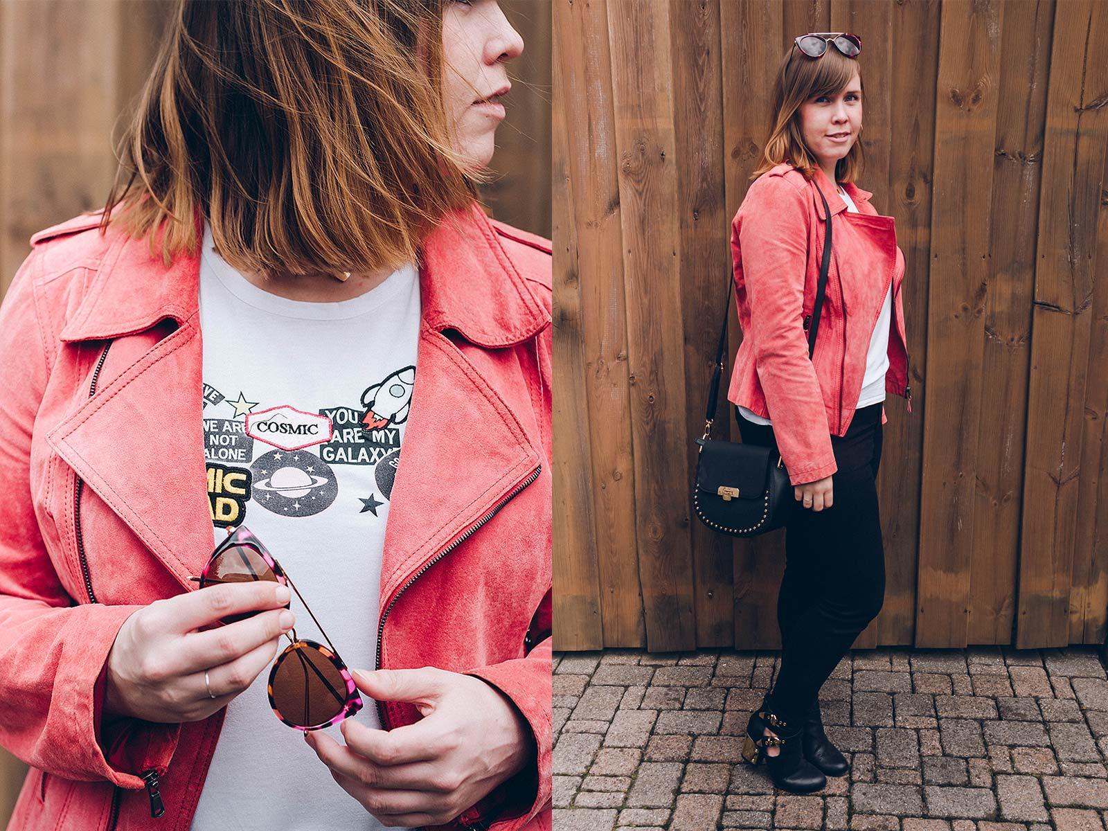Meine Lieblingslederjacke aus Wildleder in der Trendfarbe Orange. Outfit Styling Mrs.Dinosaur