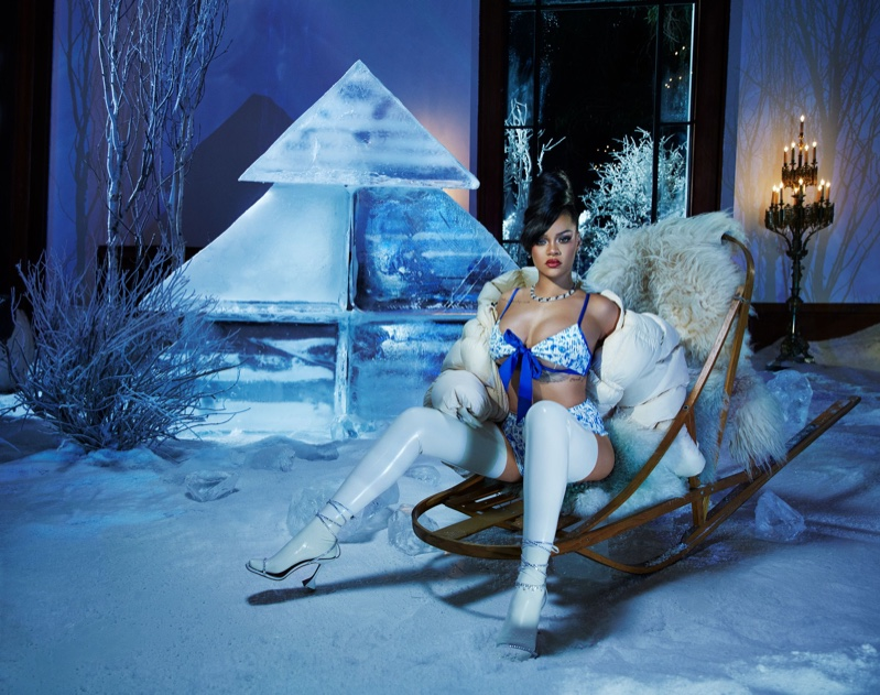 Clad in blue, Rihanna fronts Savage x Fenty Holiday 2020 campaign.