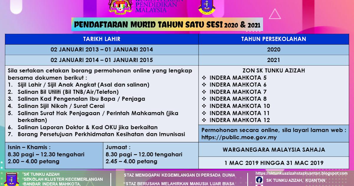 Sk Tunku Azizah Pendaftaran Murid Tahun 1 Sesi 2020 2021