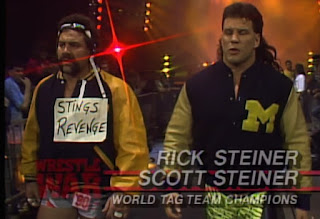 WCW Wrestlewar 1990 - The Steiner Brothers show their support for Sting
