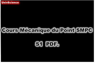 Cours Mécanique du Point SMPC S1 PDF.