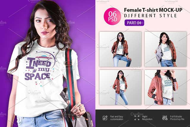 Female t-shirt Mockup-V-2-007